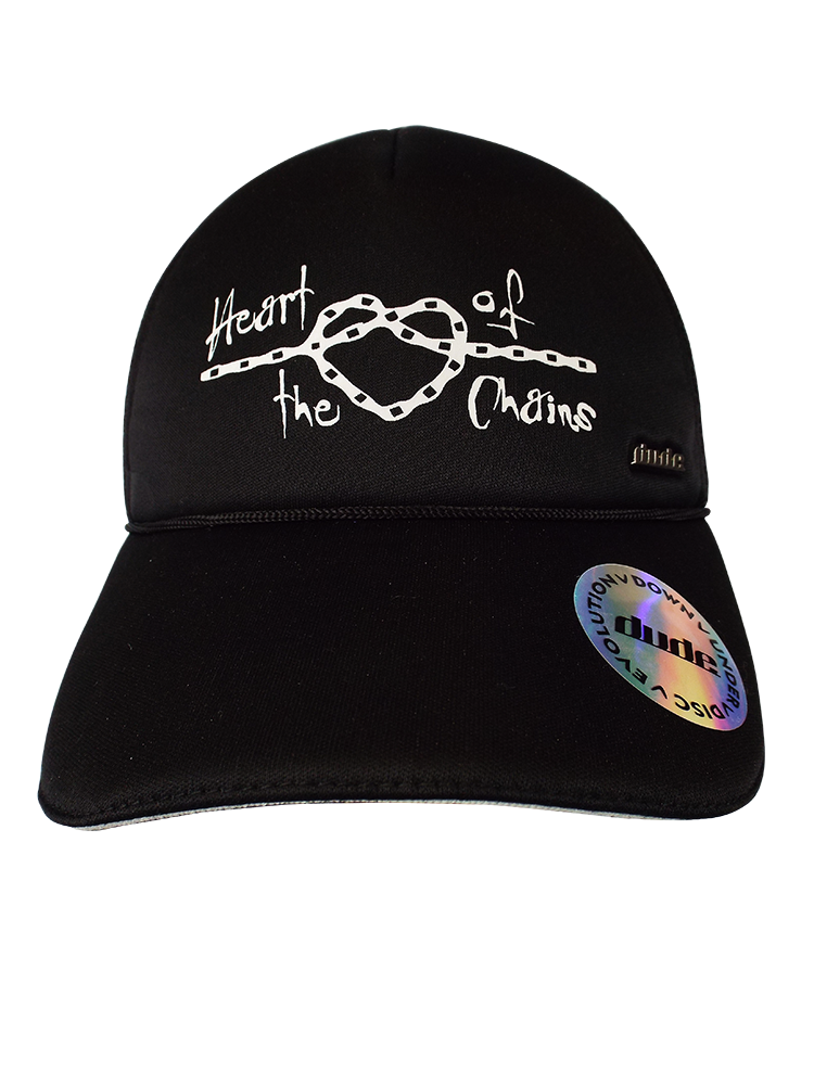 "An image showing Kona Trucker Cap, stitching ""heart of the  chains"" front with dude logo."