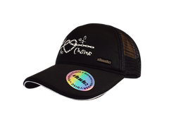 An image showing Kona Trucker Cap,  with dude logo golf hat. Black color.