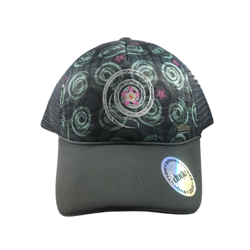 An image showing a Black Jessica Trucker Cap with Sublimated Exclusive Spiral Print front and under brim