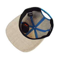 An image showing a Gray KJ Nybo flat brim hat, with blue print