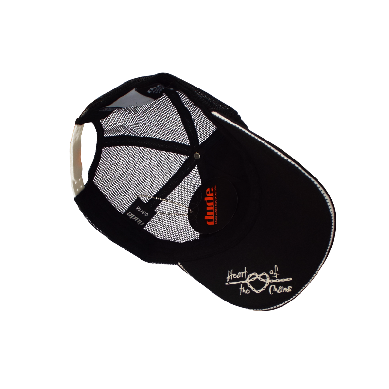 "An image showing Kona Trucker Cap,  ""heart of the chains"" stitched underside print."