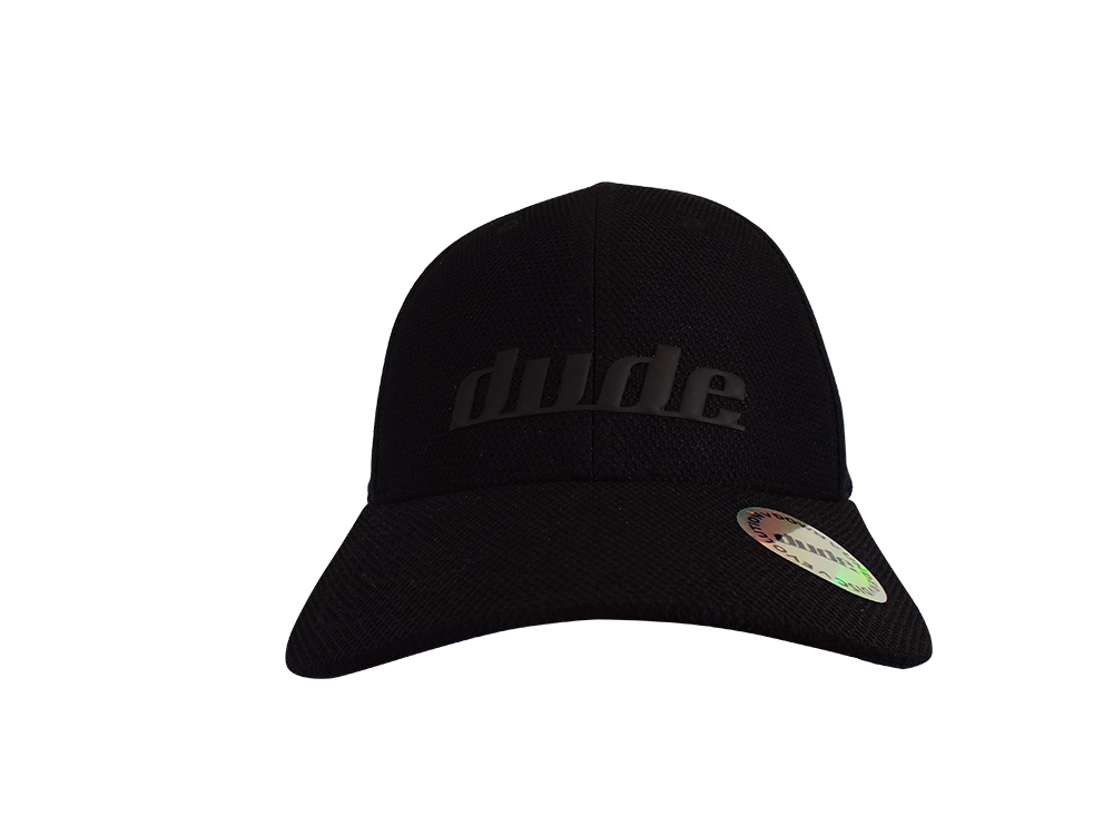 An image showing a Dude Black Tech Rubber Cap with a Black dude logo print