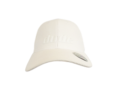 An image showing a Dude White Tech Rubber Cap with a White dude logo print