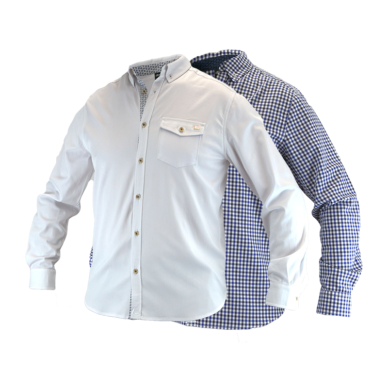 An image showing Dude Woven Shirt from Dude, long sleeves color white and checkered