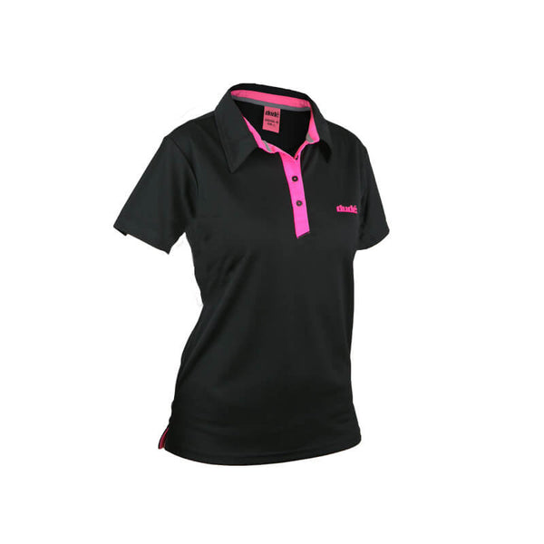 An image showing ladies Pro polo,  color black with lining of pink.  The best disc golf clothing polo shirt.