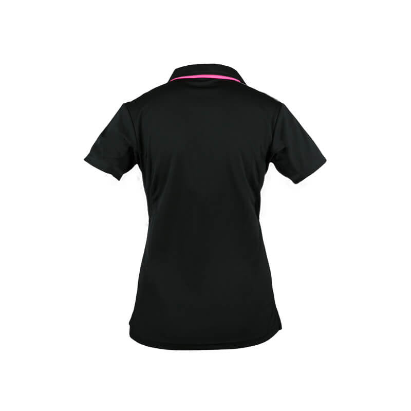 An image showing the back design of ladies Pro polo. color black