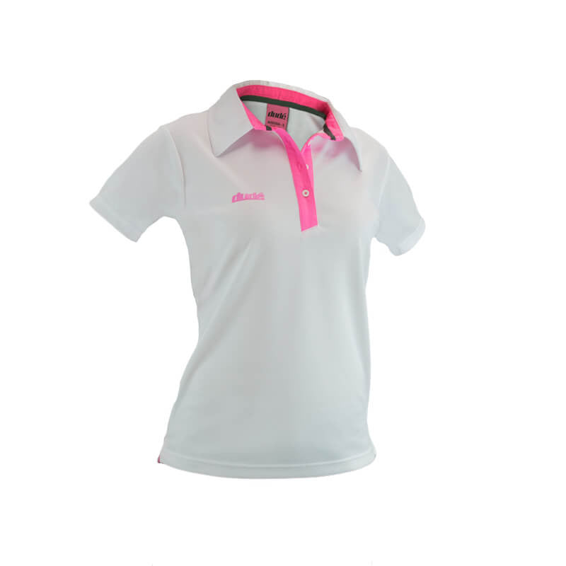 An image showing dude Ladies Pro polo,  color white with lining of pink.  The best disc golf clothing polo shirt.
