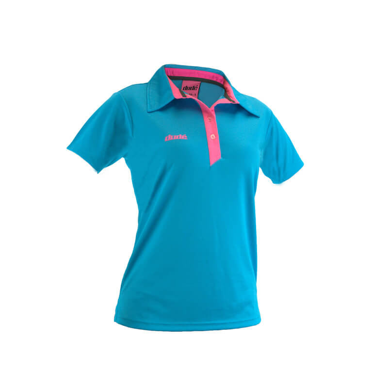 An image showing ladies Pro polo,  color Blue with lining of pink.  The best disc golf clothing polo shirt.