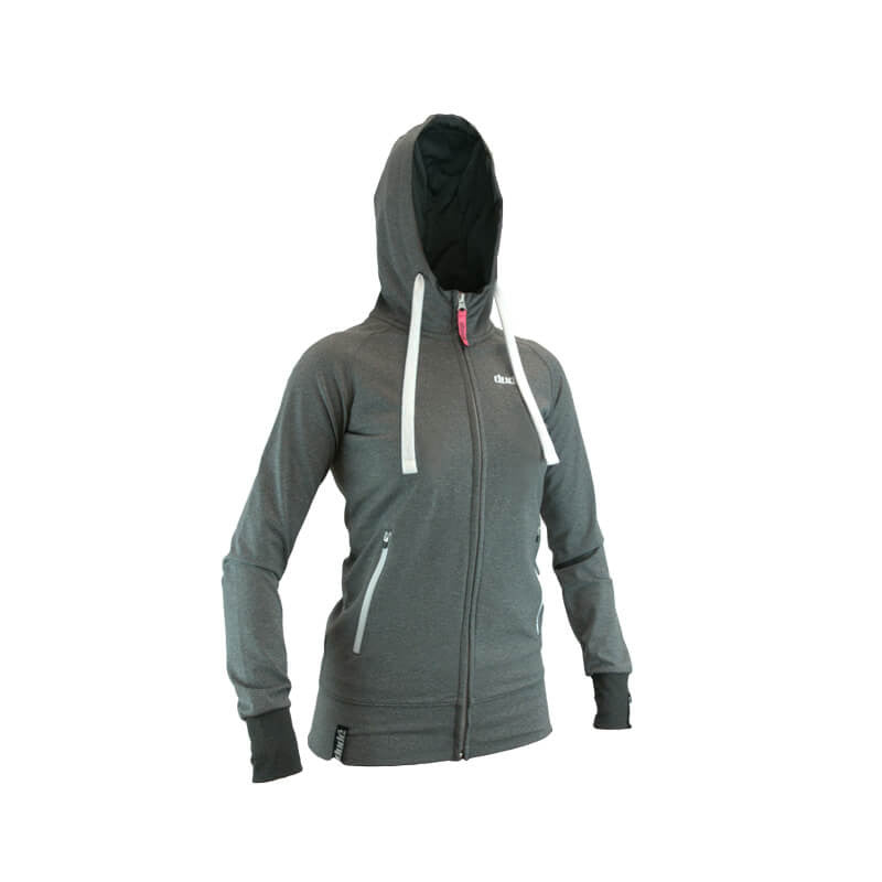 An image showing Ladies Inspire Tech Hoodie-  Disc Golf swaetshirt with Fully lined contrast hood with  dri-fit mesh lining. Gray/ Black Color