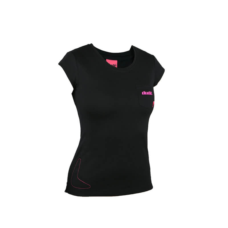 An image showing Ladies Boomer Tee - dries super-fast,  Disc golf apparel. Black color.