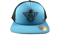 An image showing a Blue Eagle Trucker Snapback with a black eagle print