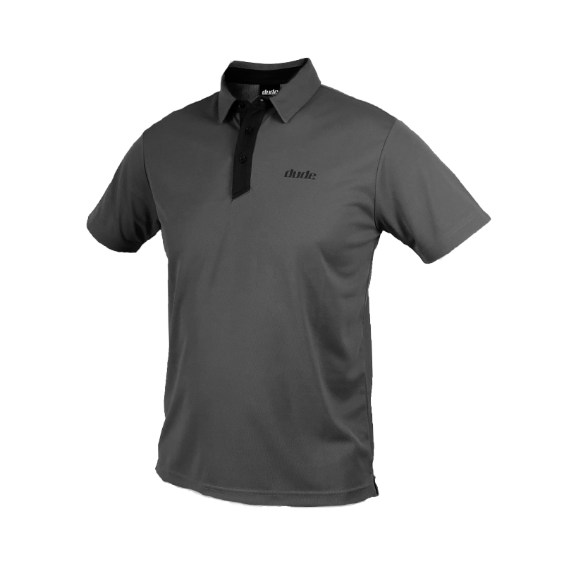 An image of Dude Pro Polo in grey/black color with Printed Logo on chest