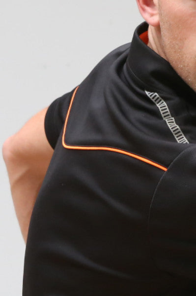 An image of Dude Pro Polo in black color with Shaped Front and Back with highlight for quality fit