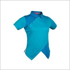 An image of Melodie Pro Polo blue in color polo with Contract and Cross over Front V Construction