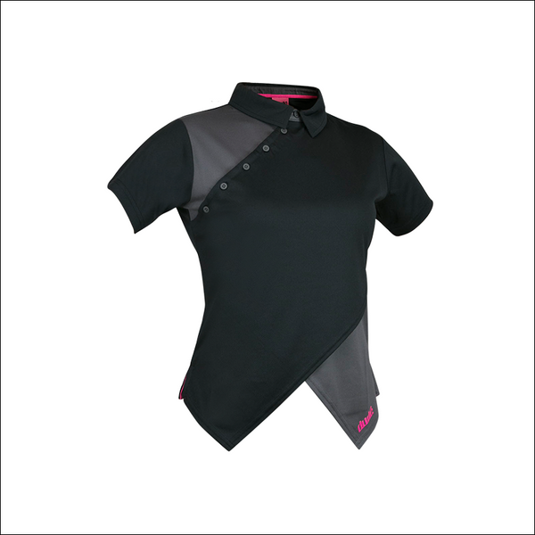 An image of Melodie Pro Polo black in color polo with Contract and Cross over Front V Construction