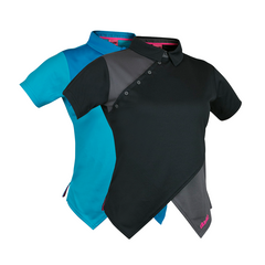 An image of Melodie Pro Polo a disc golf clothing, blue and black in color