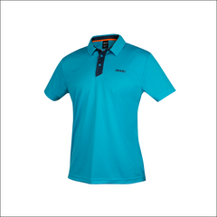 An image of Dude Pro Polo in aqua/navy color with Printed Logo on chest