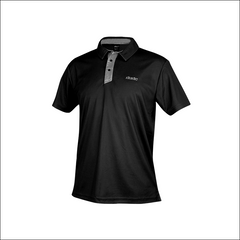 An image of Dude Pro Polo in black/grey color with Printed Logo on chest