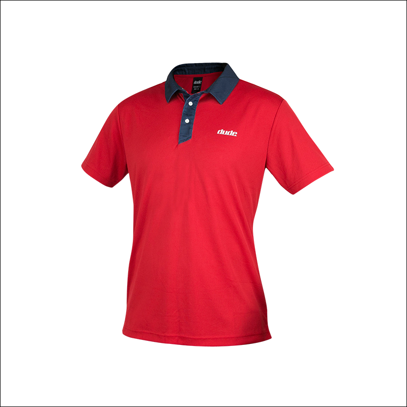 An image of Dude Pro Polo in red/navy color with Printed Logo on chest