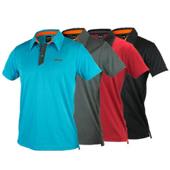 An image of Dude Pro Polos in aqua, grey, red and black color