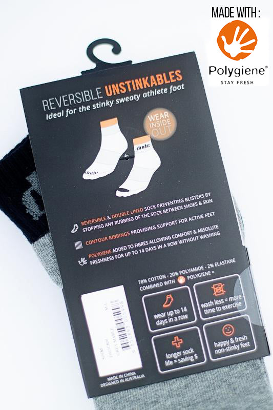 An image showing Reversible Unstinkable Socks holder carton from Dude Apparel.
