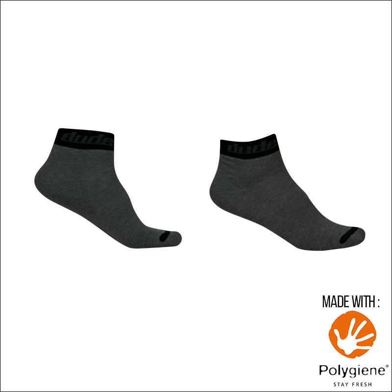 An image showing Reversible Unstinkable Socks from Dude Apparel. Gray in color