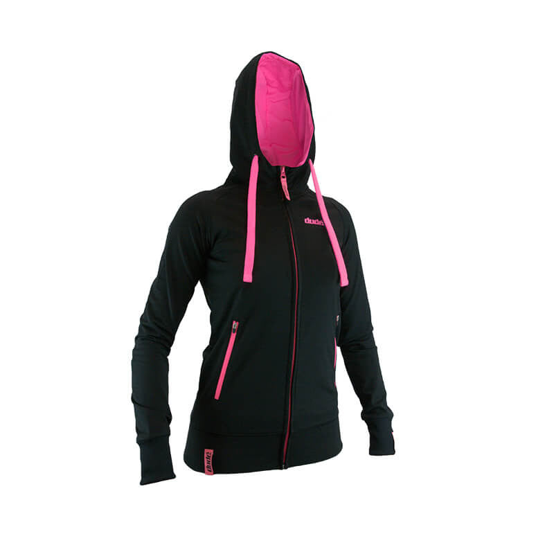 An image showing Ladies Inspire Tech Hoodie-  Disc Golf swaetshirt with Fully lined contrast hood with  dri-fit mesh lining. Black/Pink Color
