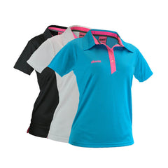 An image showing dude Ladies Pro Polo,  Disc golf clothing. Aqua/Pink, Black/pink, White/Pink color
