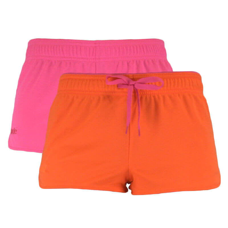 An image showing Ultimate Reversible Tech Shorts.  Tech reversible shorts color pink and orange