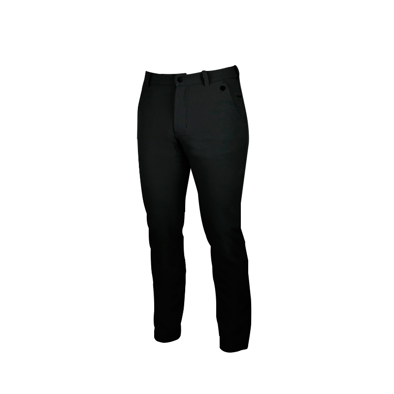 An image showing Dude Mens Disc Dacs in black color with Straight leg pant and Zip back welt pockets
