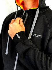 An image showing Dude Mens Inspire Tech Hoodie in black color with Zip pull