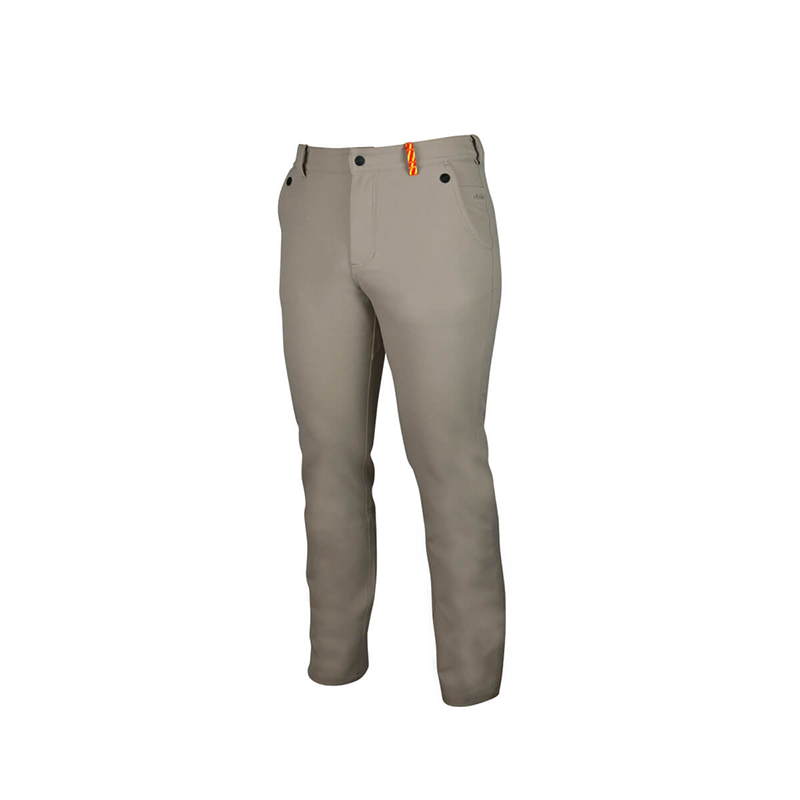 An image showing Dude Mens Disc Dacs in khaki color with Straight leg pant and Zip back welt pockets