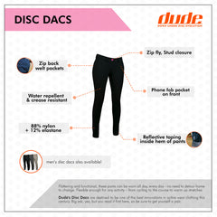 An image showing Ladies Disc Dacs - Disc golf  and dries super-fast,  Disc golf apparel. Black color.