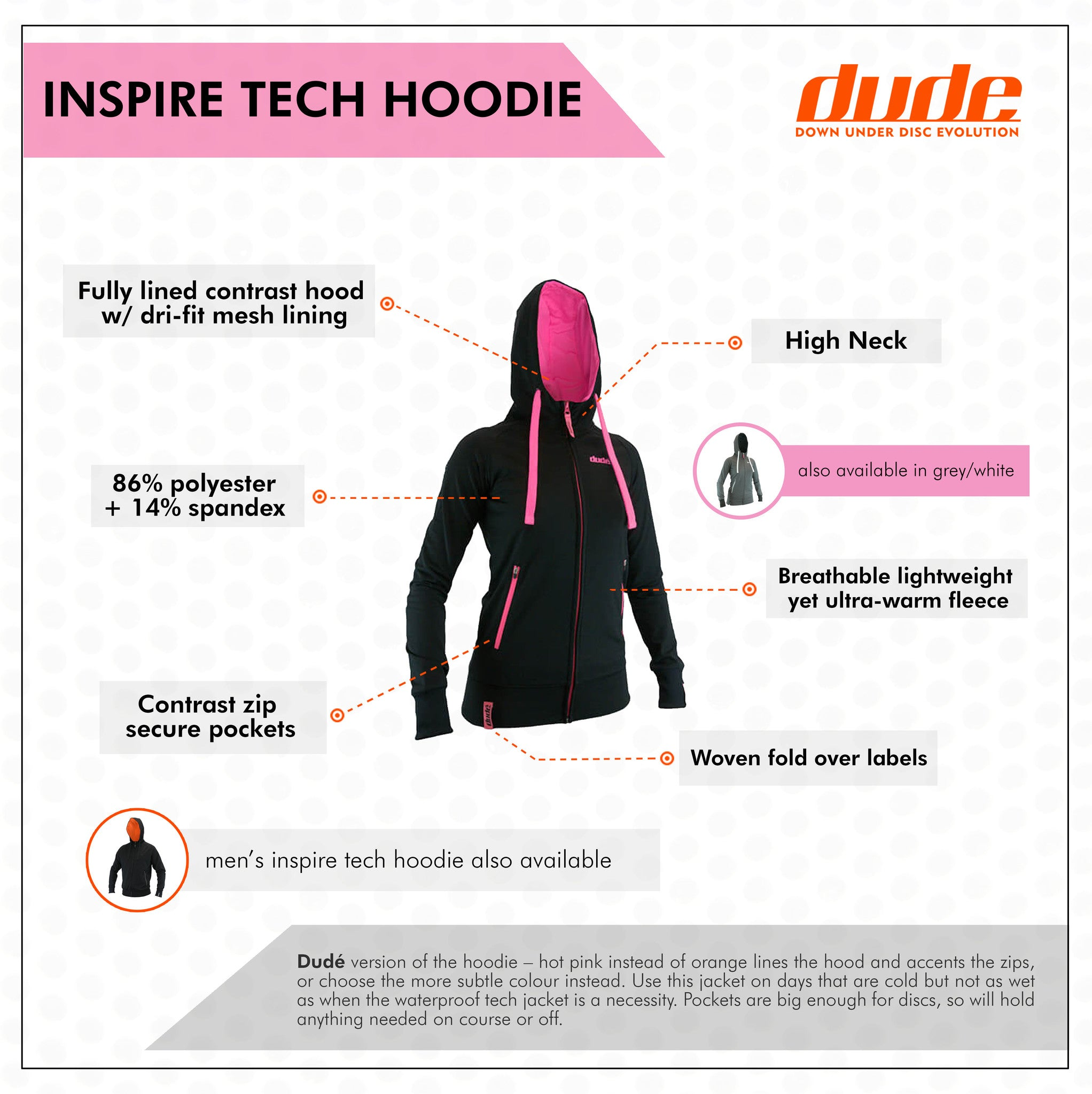 An image showing Ladies Inspire Tech Hoodie with Big pocket  enough for dude discs.