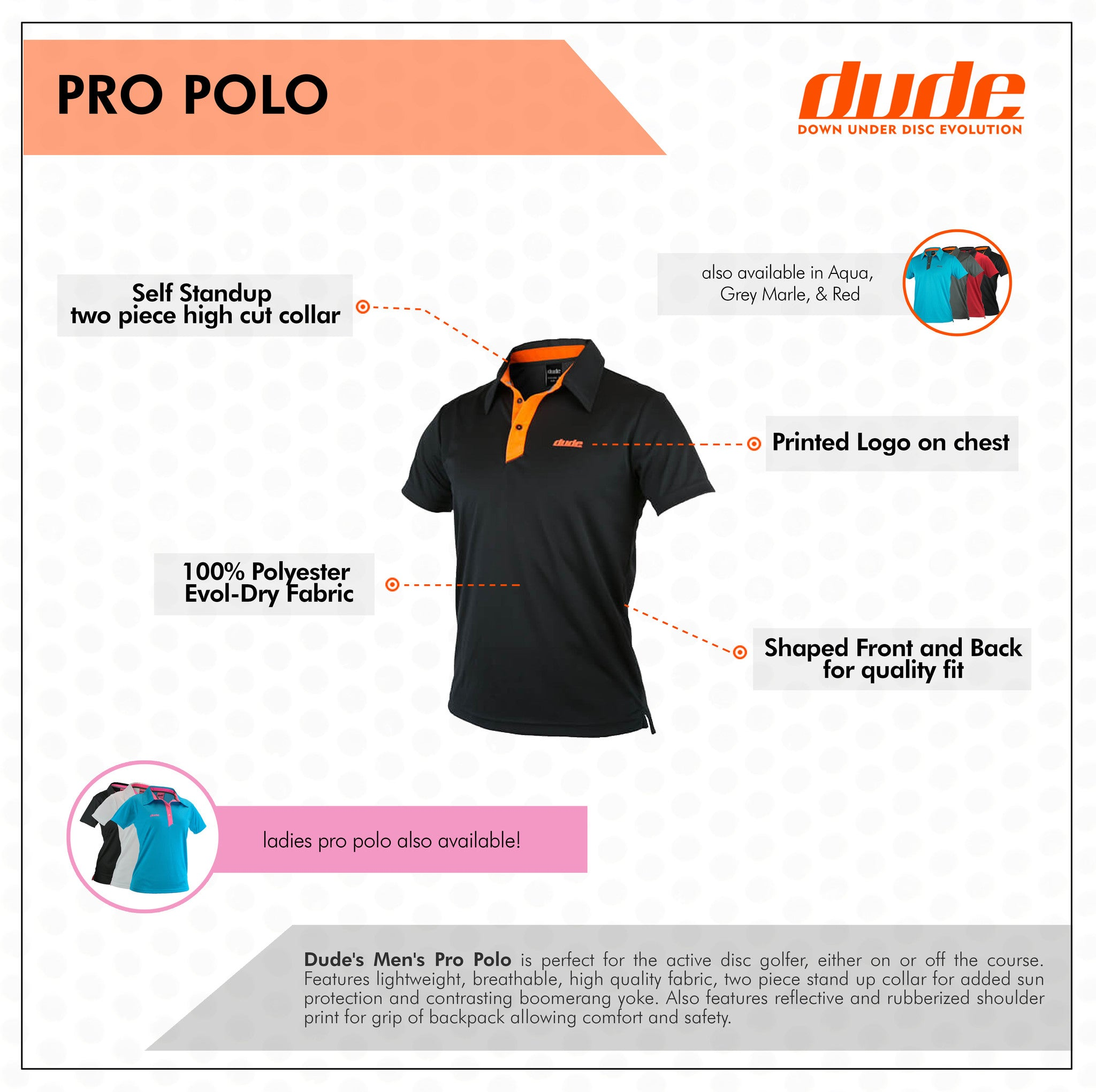 An image of Dude Pro Polo in black color with features