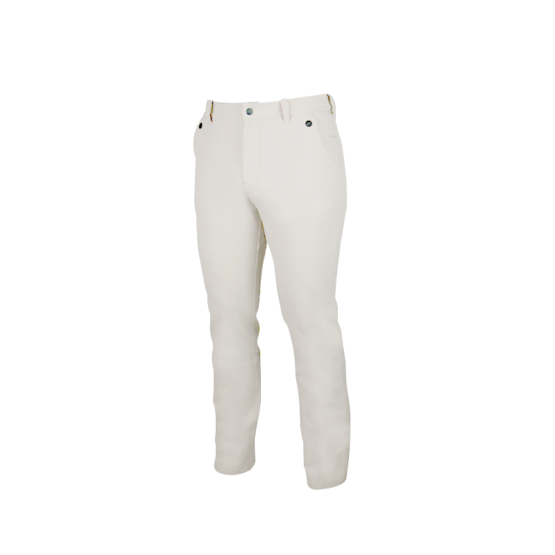 An image showing Dude Mens Disc Dacs in white color with Straight leg pant and Zip back welt pockets