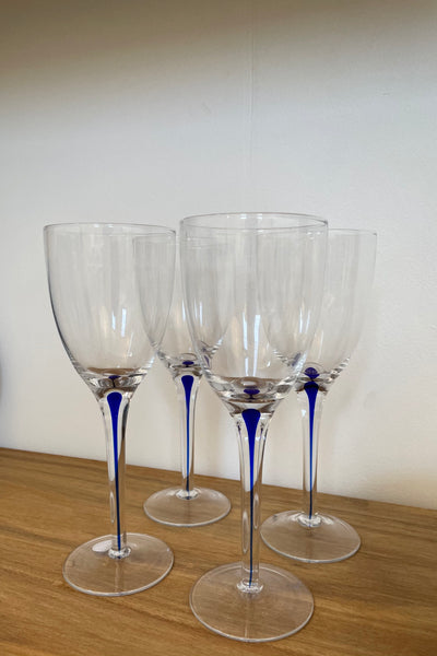Vintage Blue Stem Wine Glasses