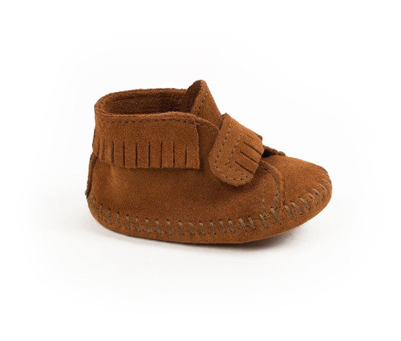 Minnetonka Front strap brown suede toddler boot moccasin