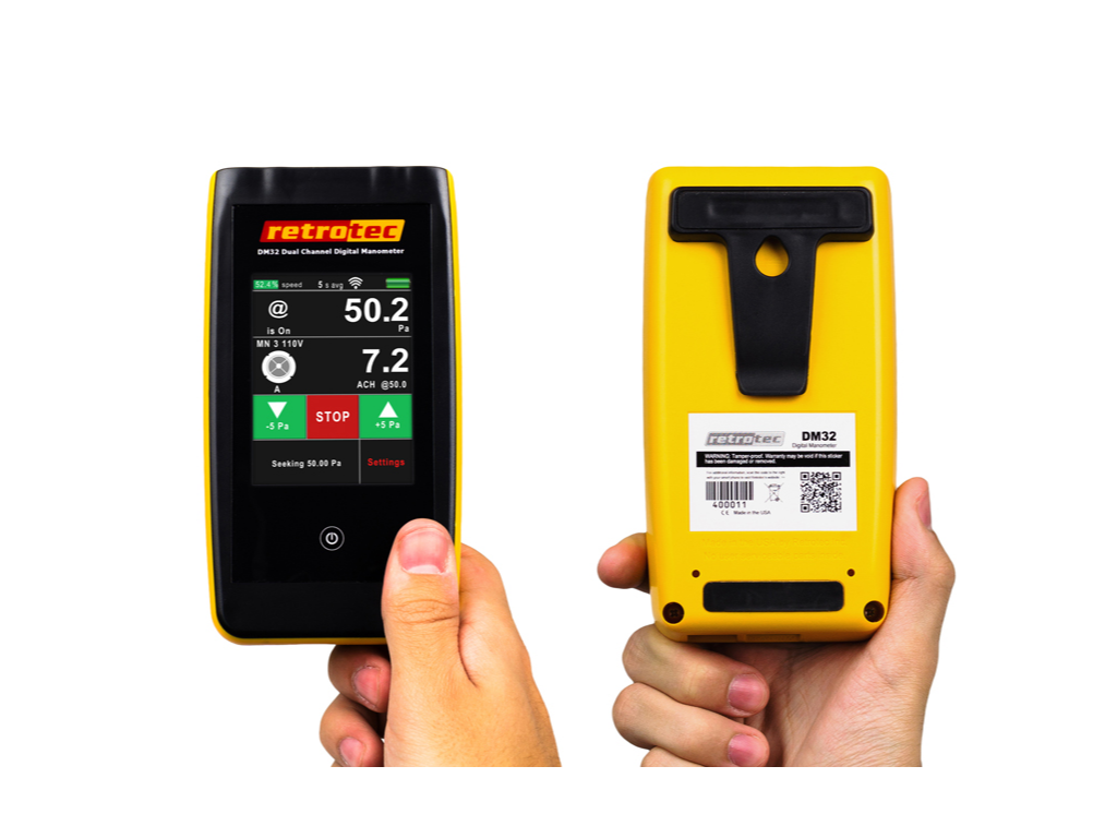 DM32 - Dual Channel Touchscreen Manometer - Vent Cap Systems - Home Performance - Duct Leakage Testiing Products