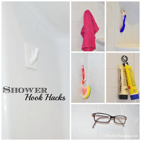 Shower hook hacks - Cleverly Changing