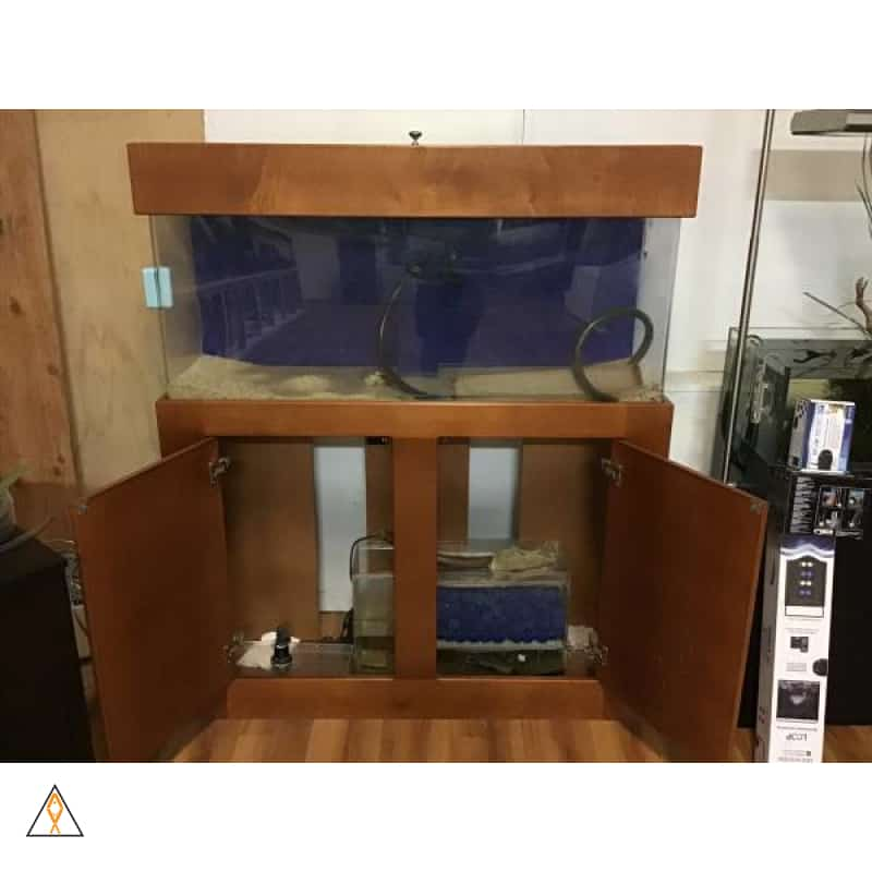 Traditional acrylic aquarium with wood stand and hood - $800 Cash Only