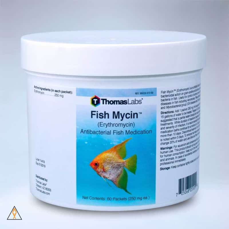 Fish Medication 12 x 250mg packets Fish Mycin Erythromycin Antibacterial Fish Medication - Thomas Labs