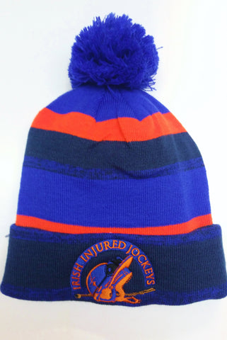 Bobble Hat Irish Injured Jockeys - NEW - Navy - Orange - Blue