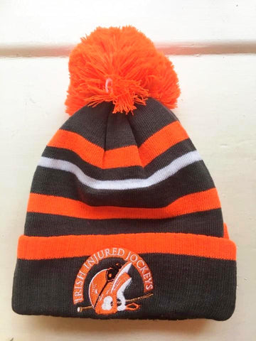 Bobble Hat Irish Injured Jockeys  - Neon Orange