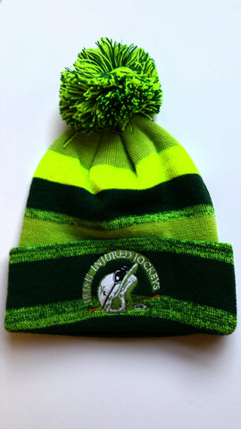 Bobble Hat Irish Injured Jockeys Hunter Green - Neon Green IIJ
