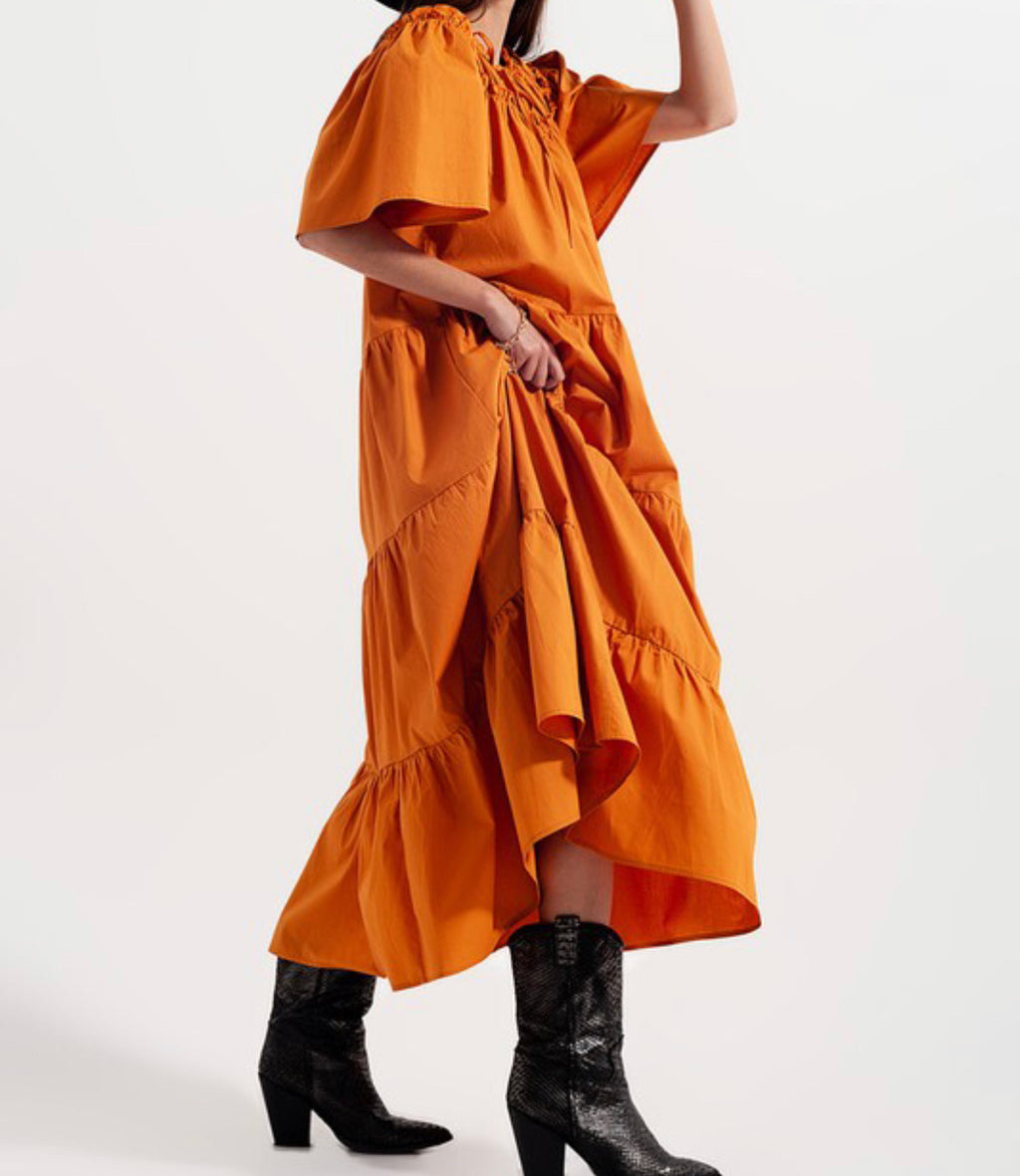Tiered Cotton Poplin Smock Maxi Dress Orange
