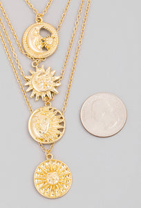 Multi Layered Sun Moon Coin Pendant Necklace