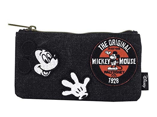 Disney Mickey Mouse Patches Denim Cosmetic Bag