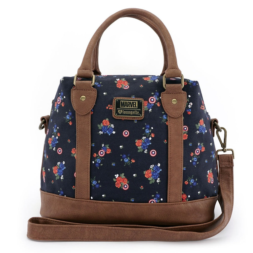 Marvel Captain America Floral Crossbody Bag by Lounglefly