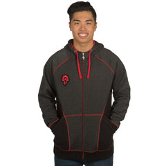 World of warcraft Horde Classic Premium Zip-Up Hoodie  Charcoal Heather Red